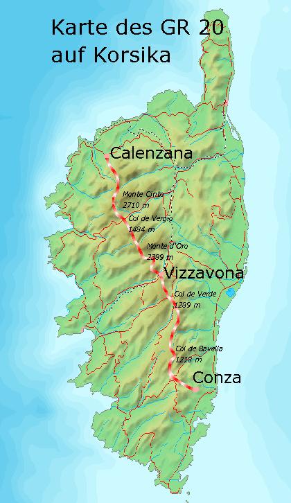 Wanderwege Deutschland Karte.Gr20 Weitwanderweg Korsika Grande Randonnée