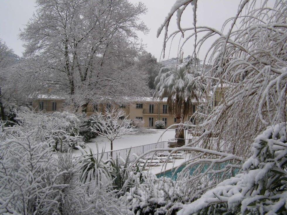 verschneite Gärten